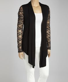 Black Lace Open Cardigan - Plus #zulily #zulilyfinds