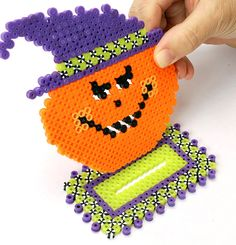 Perler Beads Projects | Insert the head of the Jack-o'-Lantern into the slot in the base ...