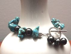 Black Pearl and Turquoise Bracelet with Toggle by StringOfLuck, $15.00