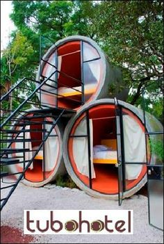 Tubohotel in Tepoztlan-Mexiico. Tubes during the day in an organic orchard less than an hour away from Mexico City. Tubohotel is an affordable hotel t. Micro House, Tiny House, Recycled Concrete, Capsule Hotel, Affordable Hotels, Dome House, Shipping Container Homes, Hotel Reviews, Hostel