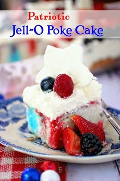 This patriotic Jello Poke Cake is quick and easy to make with fun red and blue gelatin streaks and whipped white chocolate topping.Great for beginning cooks Poke Cake Jello, Poke Cakes, Cupcake Cakes, Cupcakes, Jello Recipes, Cake Recipes, Dessert Recipes, Strawberry Recipes, Delicious Recipes