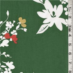 Green/White Floral Lawn - 14542 - Fabric By The Yard At Discount Prices