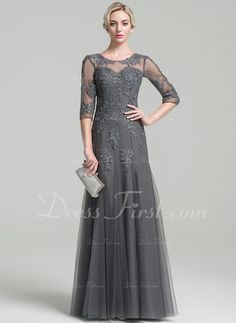 e4056afd89d A-Line Princess Scoop Neck Floor-Length Tulle Mother of the Bride Dress  With Beading Sequins (008091961)