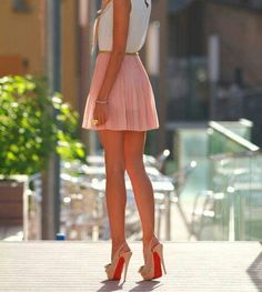 #louboutins #cute #skirt #girly #love #heels #red