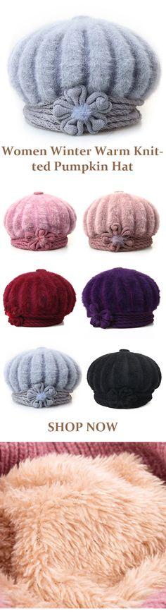 Women Winter Warm Knitted Pumpkin Hat Casual Plus Plush High Elastic Beret Caps