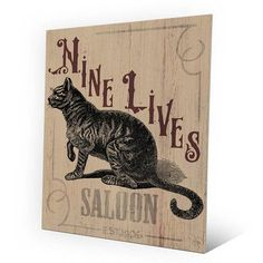 """Click Wall Art Nine Lives Saloon Graphic Art on Plaque Size: 14"""" H x 11"""" W x 1"""" D"""
