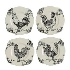 Black Rooster Toile Plates-might be able to work in w/mckenzie-childs