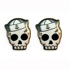 Jubly-Umph - Sailor Skull Studs. Created from an original illustration these stud earrings are made from solid stainless steel coated with resin.  They are hypo-allergenic and tarnish free. • See more at The Big Design Market on 6/7/8 December 2013 at the Royal Exhibition Building, Melbourne.  www.thebigdesignmarket.com