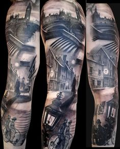 Artist : Matteo Pasqualin.  Victorian London Black and Grey scene tattoo