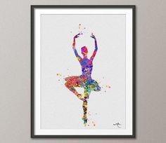 Ballerina Aquarell Drucken Archivierung feine Kunstdruck Kinder Wall Art Home Dekor Wand hängen Nr. 258