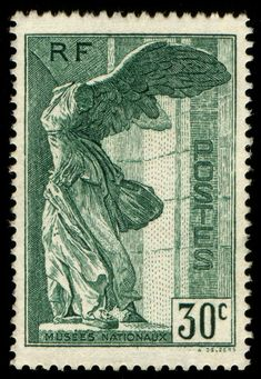 Winged Victory of Samothrace - Louvre - French Stamp - 30c (1937)