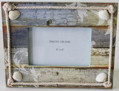 Colorful 4x6 Picture Frame with Seashells  Rope - Beach Cottage  Nautical Home Decor