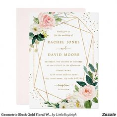 Geometric Blush Gold Floral Wedding Invitation #weddingthemes Invitation Floral, Floral Wedding Invitations, Baby Shower Invitations, Wedding Stationery, Invitation Design, Modern Invitations, Wedding Envelopes, Zazzle Invitations, Carton Invitation