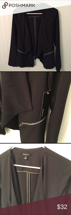 Black open jacket. NWT Black, lightweight open waterfall jacket. NWT. Silver pocket zippers. Relativity Jackets & Coats Blazers