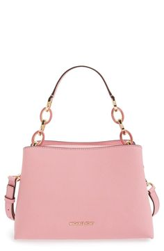 Adoring this pink shoulder bag from Michael Kors! It boasts gleaming, logo-embossed hardware, mixed-link chain straps and richly textured Saffiano leather.