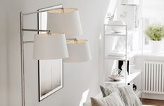 Triple, modern floorlamp has three directable white shades and chrome body. The floorlamp emits good additional light. Scandinavian Floor Lamps, Eclectic Modern, Modern Traditional, Rustic Industrial, Wall Lights, Chrome, Contemporary, Shades, Furniture