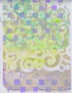 """""""Green Purple Checkerboard Scroll"""" by Sharon Giles acrylic monotype Green And Purple, Quilts, Blanket, Rugs, Home Decor, Farmhouse Rugs, Decoration Home, Room Decor, Quilt Sets"""