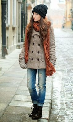boyfriend jeans with pea coat