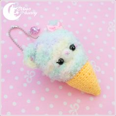~ Crochet ice-cream friend: fluffy bear Charm ~  Size: 10 cm  We've made our best to portray the colors of jewelry as accurately as possible, however colors will vary with individual monitors and subject to individual opinion.