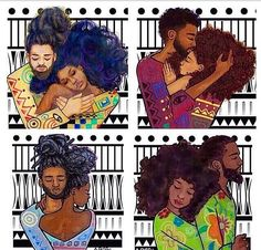Love her art! crownedroots: youngblackandvegan: blkqueenish: Natural hair x Black love glory Why do people not credit the artist? These are by keturahariel Thank you @crownedroots ❤