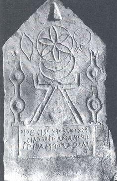 "grumble-grumble: "" Altar/Tophet commemorating sacrificed children, representing symbols of the consort of Ba'al,  Tanit, Carthaginian and Phoenician Goddess of the moon. """