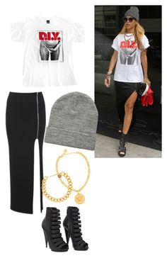 """""""Rihanna themed outfit"""" by canxxyouxxnot ❤ liked on Polyvore featuring Alaïa, ASOS, Versace, Alexander McQueen, Gucci, DIY, Rihanna and FAmous"""