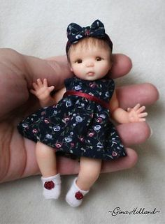 OOAK Handsculpted Baby Girl Art Doll Mini by Gina Holland | eBay <3