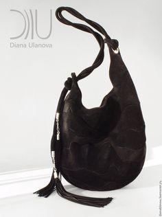 Купить в наличии Улей черная замша - однотонный, Кожаная сумка, сумка из натуральной кожи
