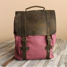 Rose Red Leather-Canvas Backpack / IPAD Bag / Laptop Bag / School Bag / Women's and Men's  Bag / Travel Bag / Unisex Backpack