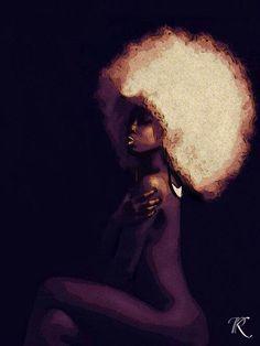 Love the Afro ❤️❤️ Black Girl Art, Black Women Art, Art Girl, African American Art, African Art, Natural Hair Art, Natural Hair Styles, Natural Beauty, Art Afro Au Naturel