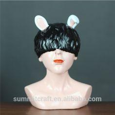 Mysterious girl bus with bunny ears on black hair !!