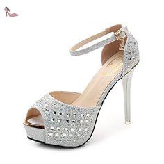 Sandales à talons fins Talons hauts Sandales à talons finis Talons à talons hauts, argentés, trente-sept - Chaussures rugai ue (*Partner-Link)