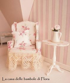 OOAK Romantic chic Chippendale wing chair  1/12 by FloraDollhouse