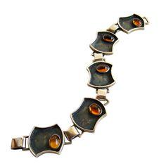 IDELLA LA VISTA Sterling Amber Bracelet   From a unique collection of vintage link bracelets at http://www.1stdibs.com/jewelry/bracelets/link-bracelets/