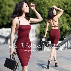 Le Palais Vintage Sexy Wine Red High Waist Backless Slim Dress