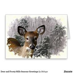 Deer and Frosty Hills Seasons Greetings Greeting Card
