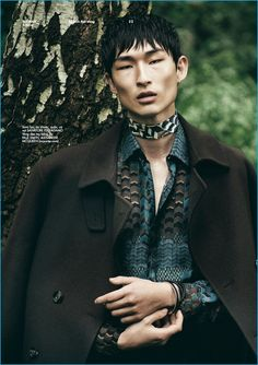 Sang Woo Kim dons fall fashions from Salvatore Ferragamo, Paul Smith and Alexander McQueen.