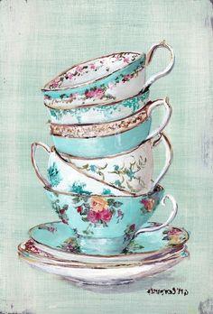 Stacked Aqua Themed Tea Cups