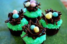 Decorate Easter cupcakes using candy eggs and chocolate covered Chinese noodles to create a fun springtime look!