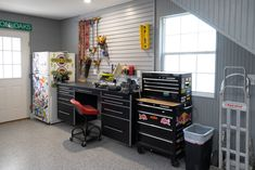 A Classy Garage For Classic Cars - Ulrich Garages Backyard Storage Sheds, Shed Storage, Built In Storage, Barn Builders, White Beadboard, Custom Garages, Garage Cabinets, Play Houses, Household Items
