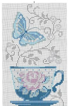 Cross-stitch Pretty Teacup & Butterfly ... no color chart available, just use pattern chart as your color guide.. or choose your own colors...   elina.elenina - «. 1 (4) jpeg »de Yandex
