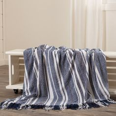 Bring the comforting and fresh colors of the Huron Chambray Stripe Chenille Throw into your home or retreat. Navy and chambray blue dominate the rug and black and white accent. Country Furniture, Country Decor, Farmhouse Decor, Western Decor, Coastal Farmhouse, Opposite Colors, Country Style Homes, Blue Bedroom, Master Bedroom