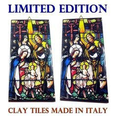 Nativity of Jesus - christian icon on clay tile - christian gift - religious items - religious decor - religious art - handmade in Italy