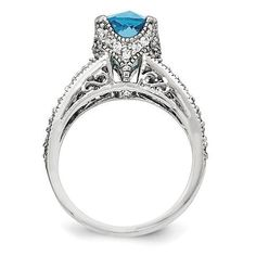 Sterling Silver Checker-cut Simulated Blue Topaz and Cubic Zirconia Ring - Size 6, Women's