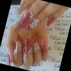 Pink Nail Art I love the flowers Glittery Nails, Glam Nails, 3d Nails, Cute Nails, Pretty Nails, Santa Nails, 3d Nail Designs, Exotic Nails, Summer Toe Nails