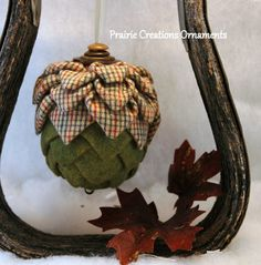 Quilted Ornament Fall Acorn Flannel Plaid by MyPrairieCreations, $18.00