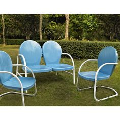 Vintage style metal outdoor furniture, available in 4 colors - free shipping! #kitchensource #pinterest #followerfind