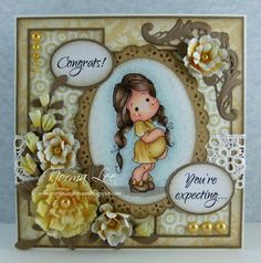 Congrats! You're expecting... (view 1 of 2 - card front) featuring 'Gift From Heaven Tilda' from Magnolia-licious by Norma Lee of From My Craft Room. / http://www.magnoliastamps.us/ / #crafts #cards