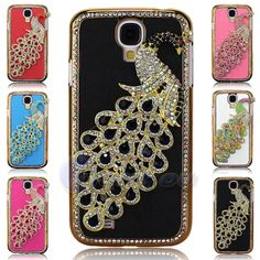 NEW S4 Case Free Shipping Luxury Bling Diamond Crystal Peacock Leather Gold Plating case cover For SAMSUNG GALAXY S4 SIV  I9500-in Phone Bag...