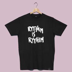 Rhythim White on Black T Shirt. Transmat x Millionhands on sale now £19.00